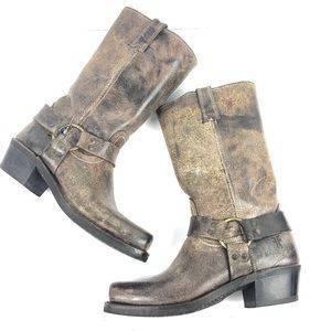 Frye - harness square toe tall boot distressed